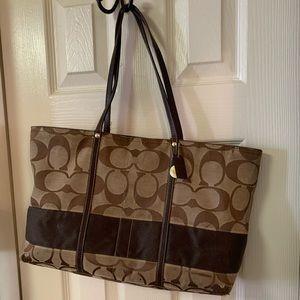 Brown signature coach bag